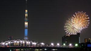 隅田川花火大会 汐入公園から